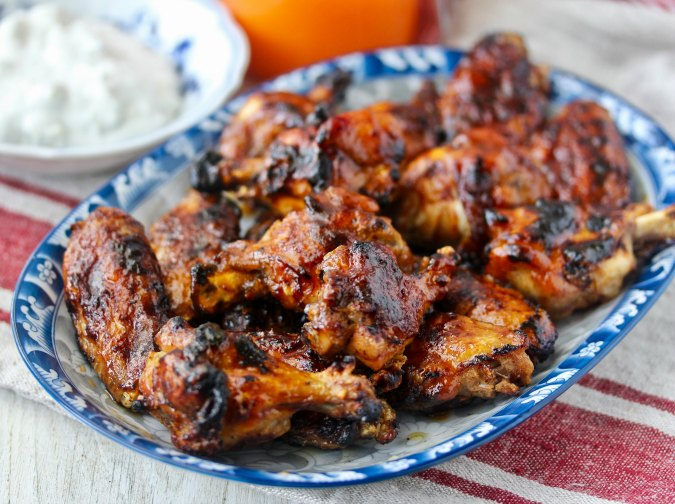 Grilled Chicken Wings with Carrot Habanero Hot Sauce