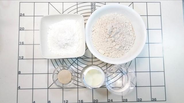用來製作全麥吐司的中種麵糰材料一覽