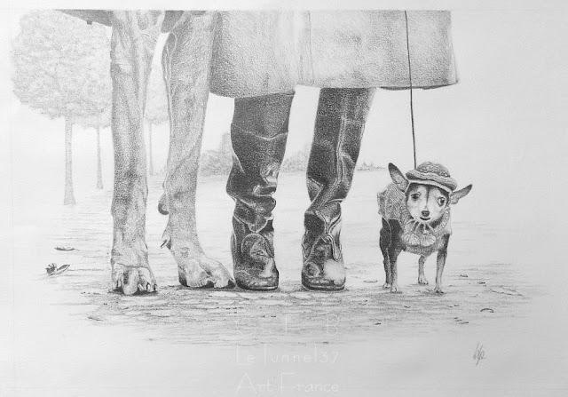 Cours de dessin Ateliers LT37 -  Barbara Lp - Portait de famille d'après Elliot Erwitt - dessin crayon graphite  -  st cyr sur loire      tours       amboise      st pierre des corps       37270         veigné