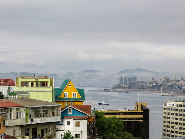 Yellow house and sea views on a day trip to Valparaíso Chile from Santiago