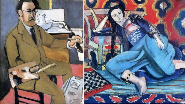 """Henri Matisse """"Autoportret"""" (1918), """"Odeliska i tureckie krzesło"""" (1928) Musée National d'Art Moderne, Centre Georges Pompidou, Paris, France"""
