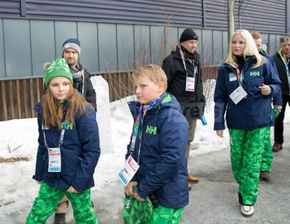 Princess Mette Marit and Prince Haakon of Norway and Princess Ingrid Alexandra and Prince Sverre Magnus attended the opening of the Lillehammer 2016 Youth Olympic Games