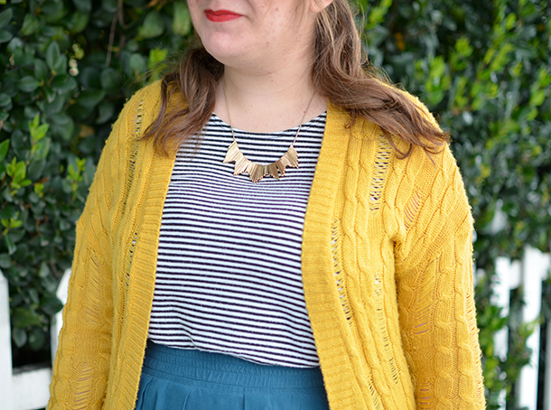 Yellow cardigan, thrifted teal skirt, Rocksbox necklace, and striped top
