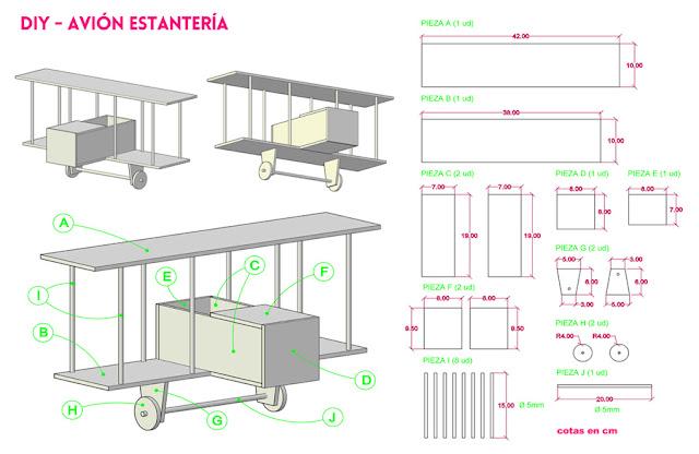 diseño avion estanteria
