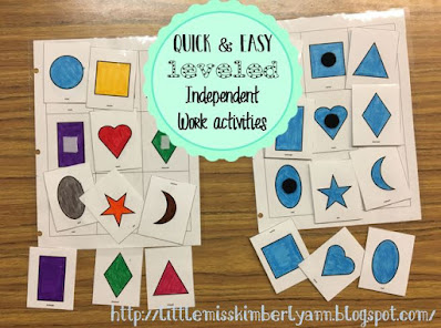 Leveled Independent Work Activities for Special Education