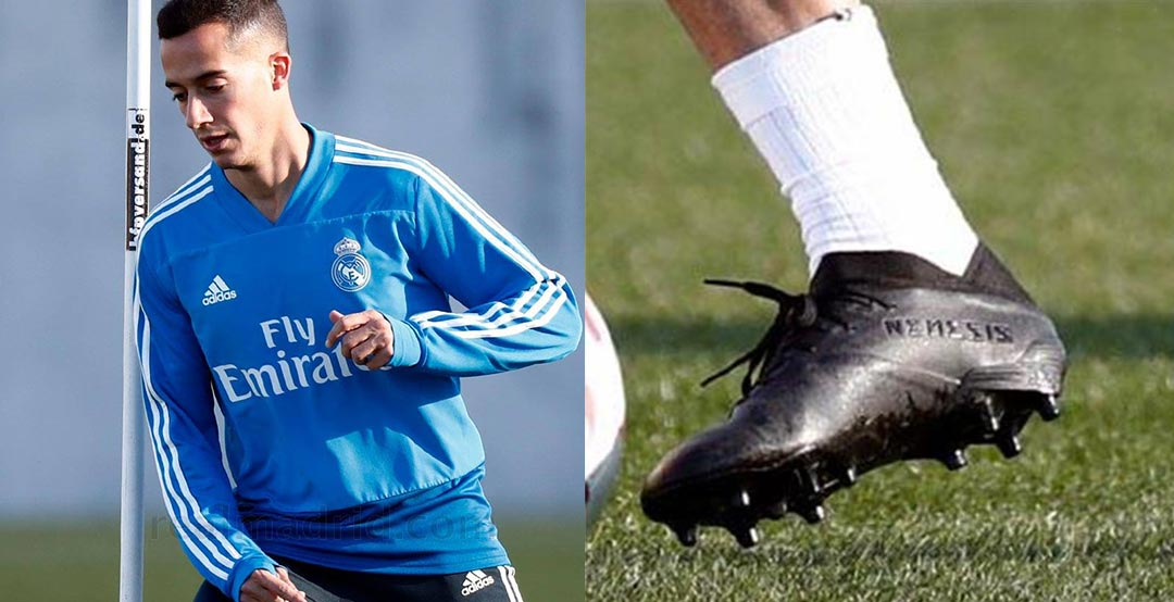 f63b40e28 Real Madrid s Lucas Vazquez has been spotted with a blackout pair of the  next-generation Adidas Nemeziz 19 football boots in training yesterday.