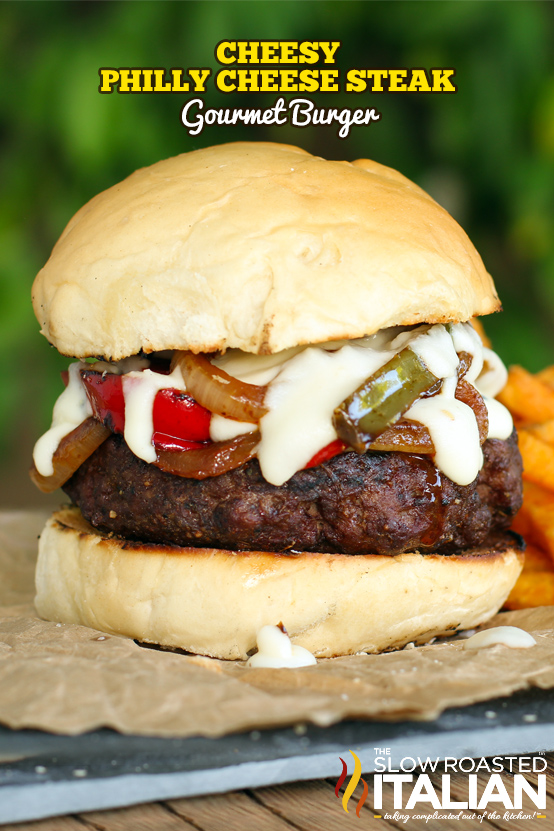 Philly Cheese Steak Burger with Sauce
