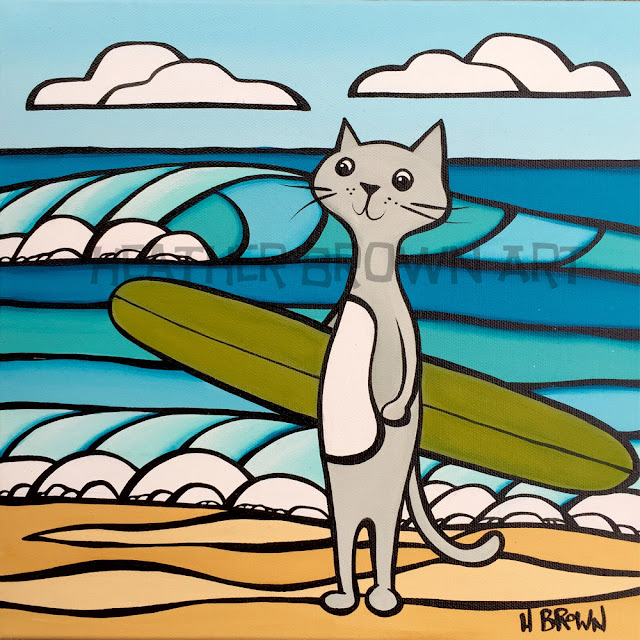 tropical hawaii art cat