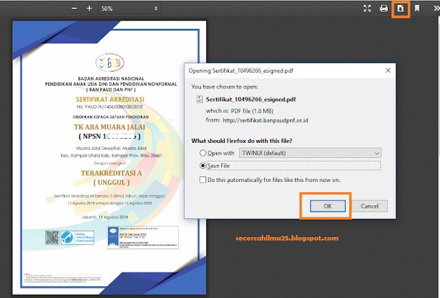 cara download dan cetak sertifikat akreditasi PAUD dan PNF terbaru