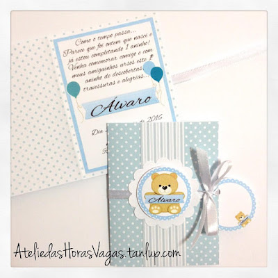 convite de aniversário infantil personalizado artesanal ursinho azul bebê menino 1 aninho