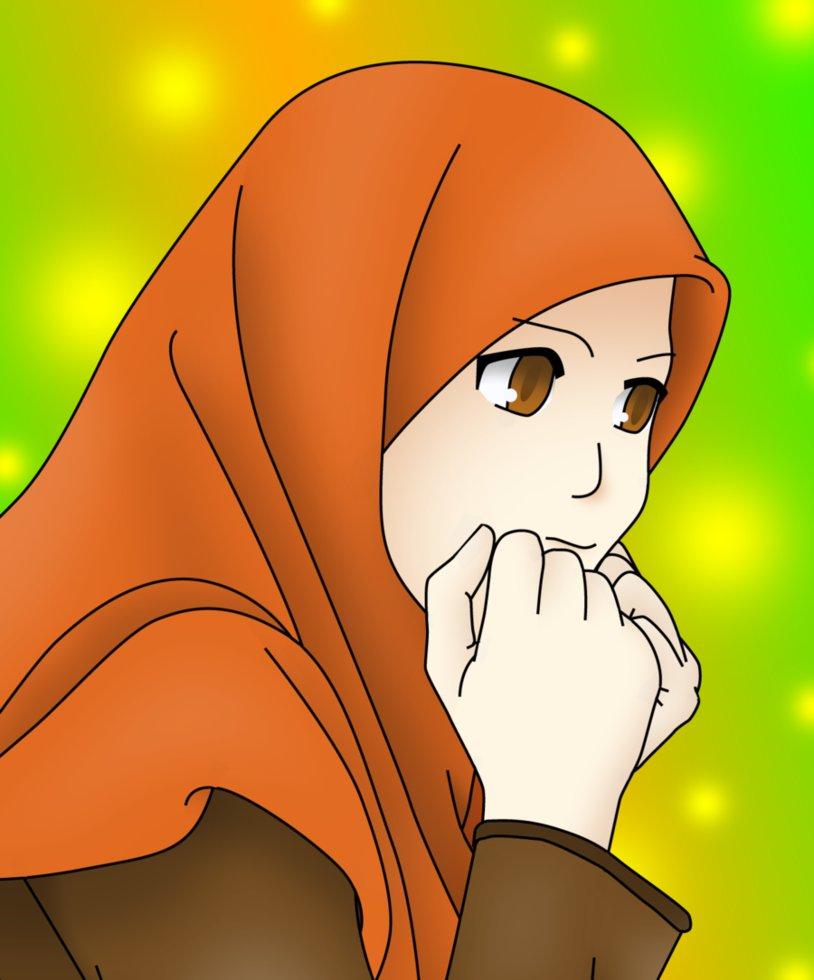 Gambar Kartun Wanita Berjilbab Update Status