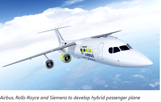 Airbus, Rolls-Royce and Siemens to develop hybrid passenger plane