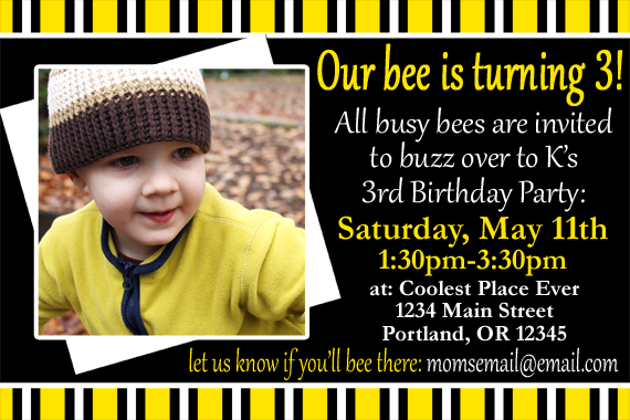 free customizable bee birthday party template