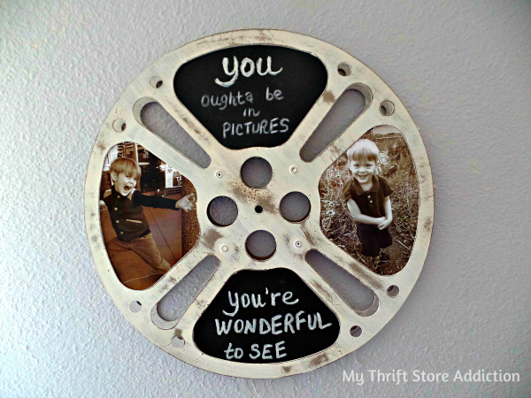 Repurpose a vintage movie reel as a retro chalkboard frame