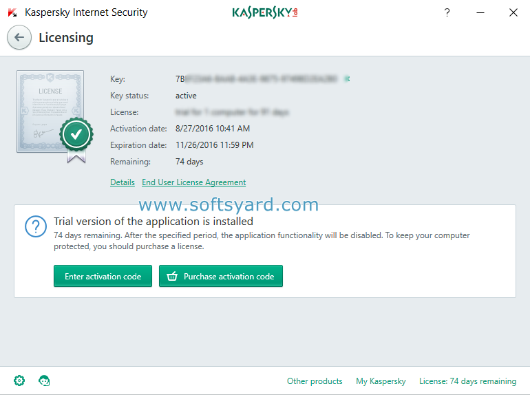 Kaspersky internet security 2017 v1 key new version