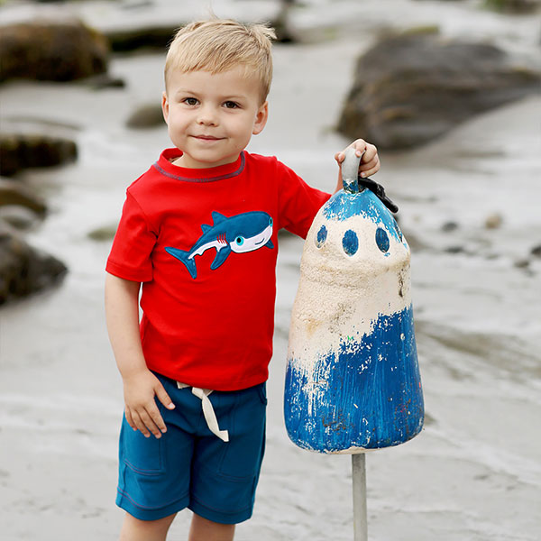 GNU by Lemon Loves Lime boy shark tee & shorts