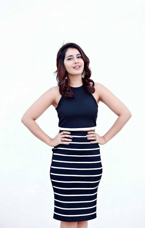 Actress Rashi Khanna Hot Legs Show Stills In Mini Blue Dress