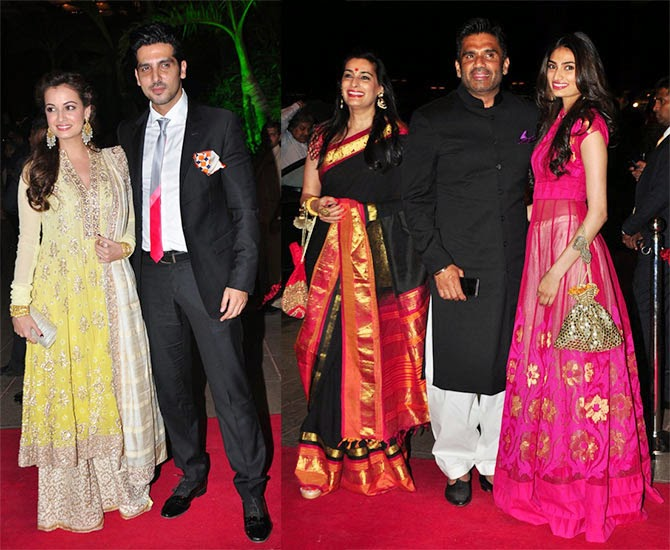 Dia Mirza, Zayed Khan, Mana Shetty, Suneil Shetty, Athiya, Pics from Arpita-Ayush's Wedding reception