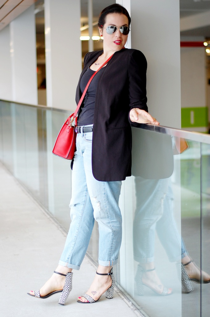 BCBGMaxAzria boyfriend blazer, Celine Nano and Gap boyfriend jeans by Vancouver fashion blogger Aleesha Harris of Covet and Acquire.