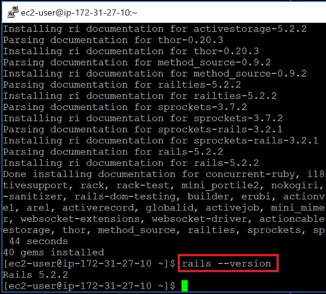 Amazon Linux 2へのRuby on Railsインストール確認