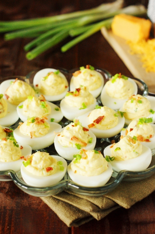 Bacon-Cheddar Deviled Eggs - The Kitchen is My Playground