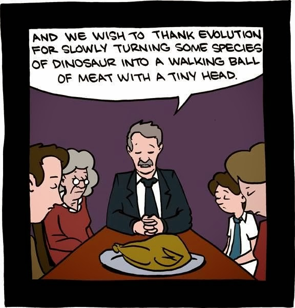 Funny Evolutionist Thanksgiving Prayer Cartoon