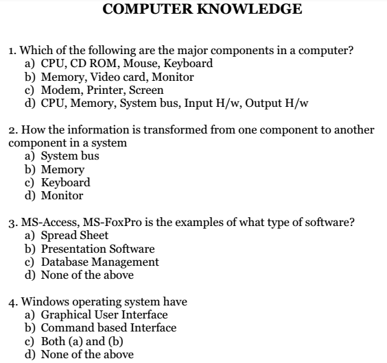 MS Office H/w MCQs Multiple Choice Questions and Answers PDF