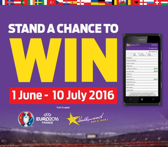 Hollywoodbetsis offering you the chance to win BIG at Euro 2016 with our mobile promotion.