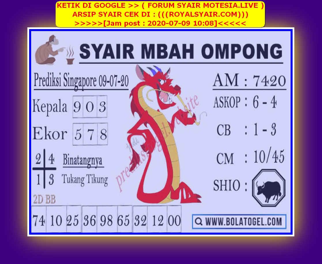 Kode syair Singapore Kamis 9 Juli 2020 149