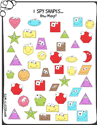 I Spy Shapes Printable Activity Classroom Game