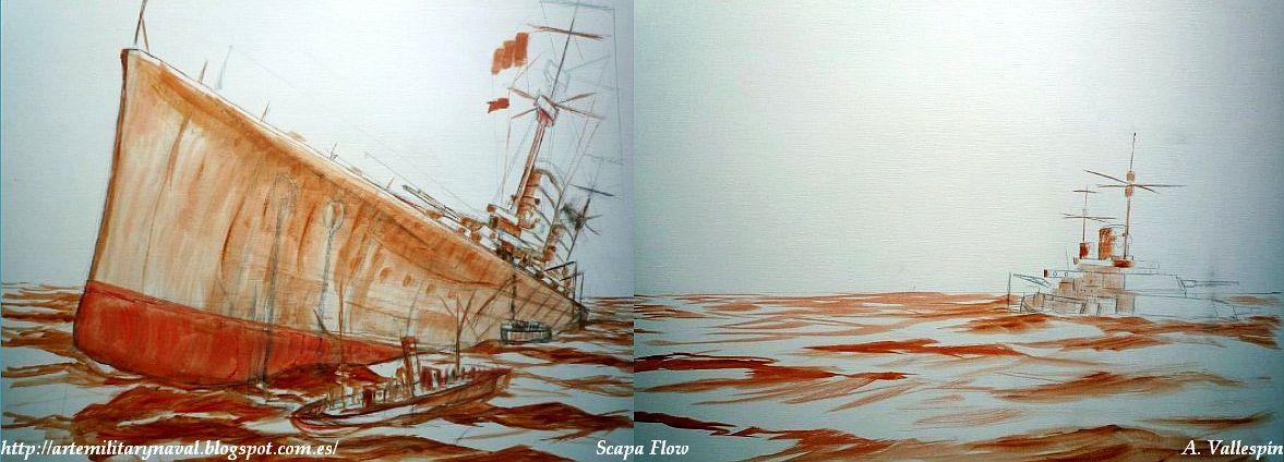 Pintura hundimiento cruceros de batalla en Scapa Flow