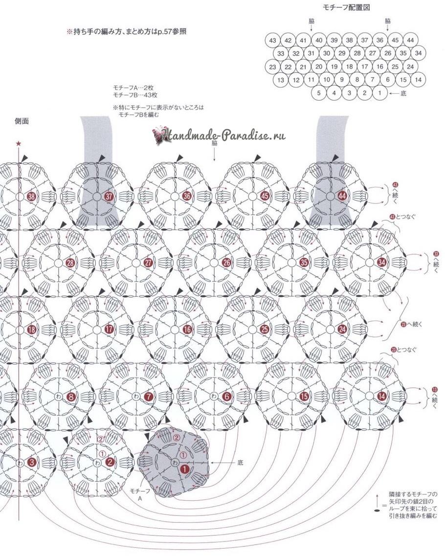 Сумка крючком безотрывным вязанием цветочных мотивов (2)