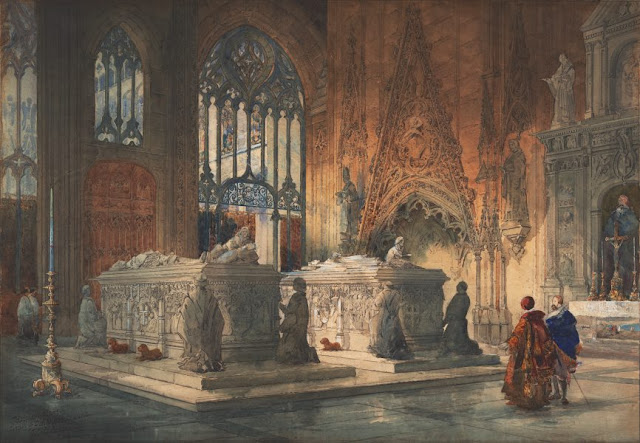 "Artwork, XIX century art, watercolours, ""Interior of Toledo Cathedral, tombs of Don Álvaro de Luna and his wife"" by Pilford Fletcher Watson, 1888."