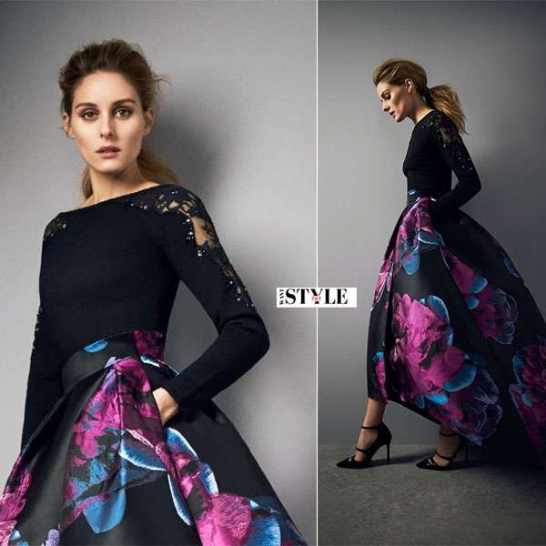 Olivia Palermo in black top and black blue purple skirt cost aw16 campaign what she wore