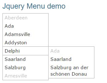 jquery menu example demo