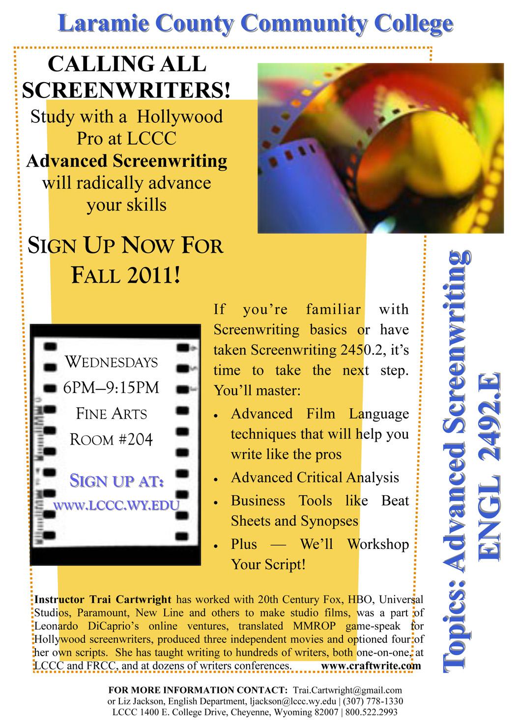 Trai Cartwright to teach advanced screenwriting class this