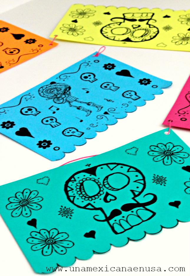 Cómo hacer el papel picado más fácil (imprimible gratis) via www.unamexicanaenusa.com