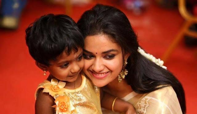 Keerthi Suresh cute image with the daughter of Coactor Sivakarthekeyan