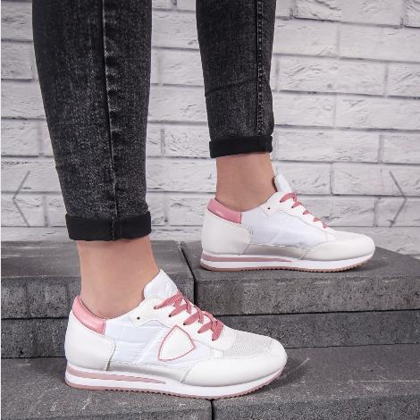 Pantofi sport dama albi cu roz la reducere cu doar 59 de lei