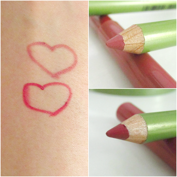 alverde Lipliner 16 Pretty Mauve & 17 Secret Red Swatches