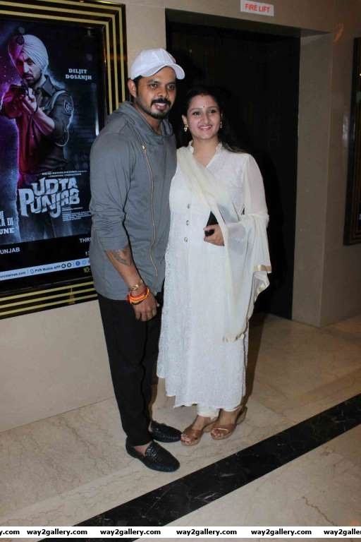 Shutterbugs spotted excricketer Sreesanth along with his wife at the screening of Ram Gopal Varmas Veerappan