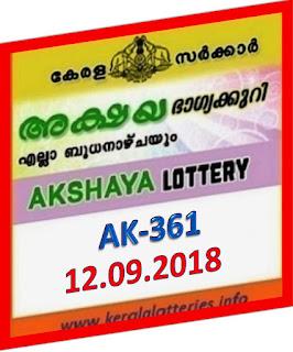 kerala lottery result from keralalotteries.info 12/09/2018, kerala lottery result 12-09-2018, kerala lottery results 12-09-2018, AKSHAYA lottery AK 361 results 12-09-2018, AKSHAYA lottery AK 361, live AKSHAYA   lottery AK-361, ,   AKSHAYA lottery results today, kerala lottery AKSHAYA today result,