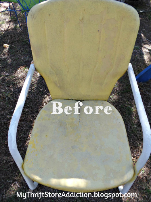 BEFORE lawn chair makeover
