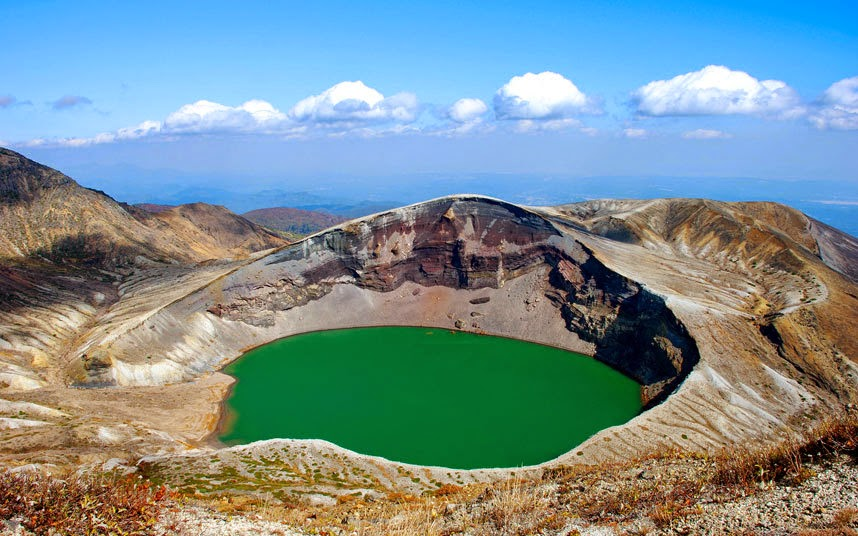 Okama, Japan This crater lake at the centre of Mount Zao in Honshu, the largest and most populous island of Japan, is surrounded by three mountain ranges - the Kattadake, Kumanodake and Goshikidake.
