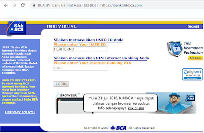 contoh user id pin internet banking klikbca