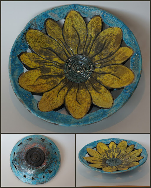 Floral raku-fired ceramic plate by Lily L.