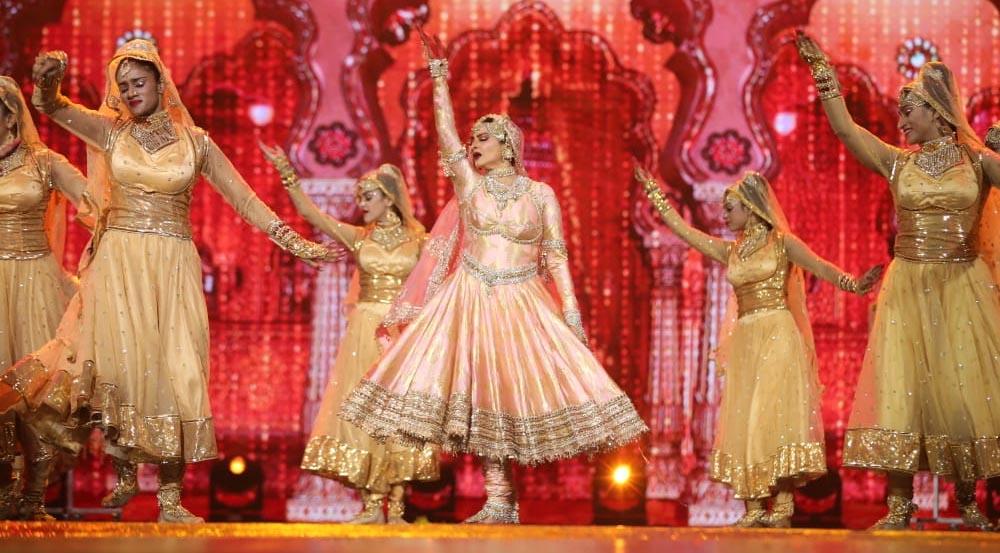 Rekha during stage performance at NEXA IIFA Awards
