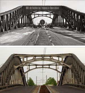 Puente de Bosebrucke antes y despues de la caida del muro