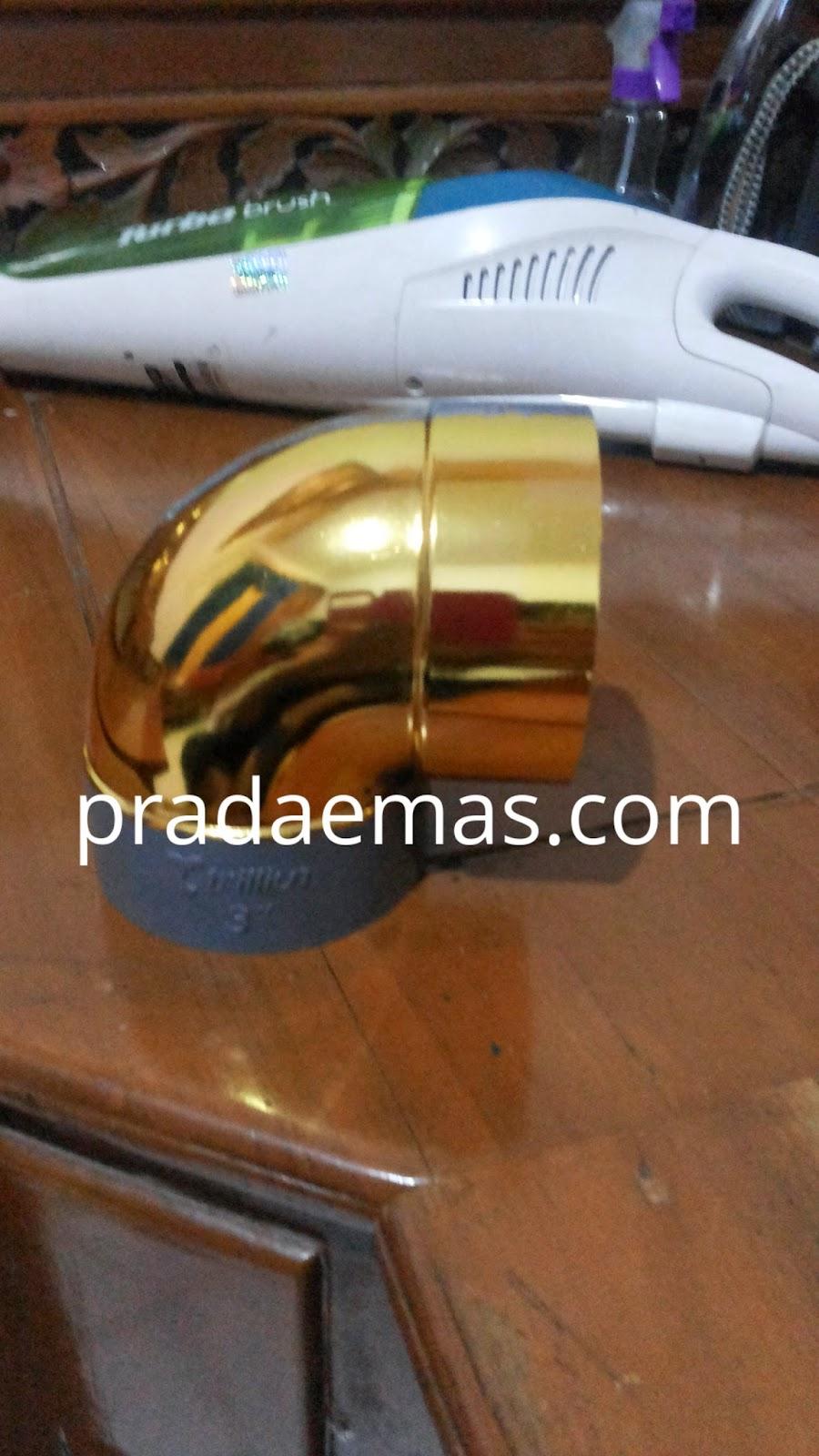 chrome gold chrome sistem tempel dengan prada emas