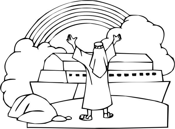 Desenho Biblico Para Pintar Noe E O Arco Iris